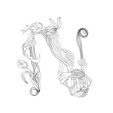 Floral font, Letter N