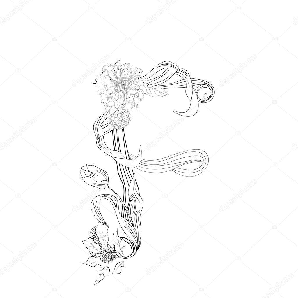 Floral font Letter H — Stock Vector © Jershova