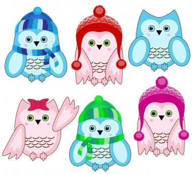 Set of vector cute winter wise owls on white background