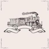 Fotografie Vintage Locomotive Banner. Vector illustration.