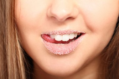 Lips covered with sugar
