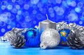 Christmas decorations over blue
