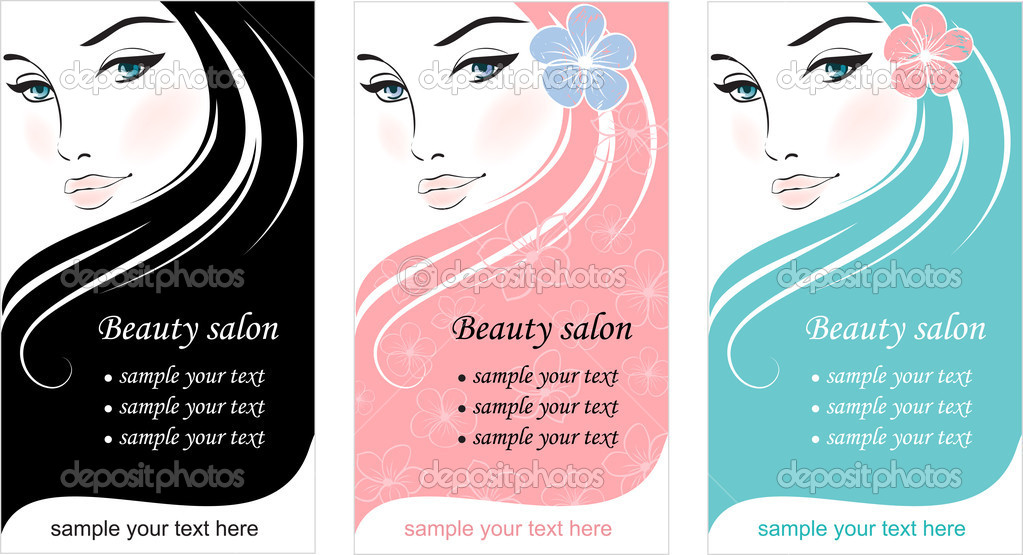 Stylish face of woman with long hair. Template design card stock vector