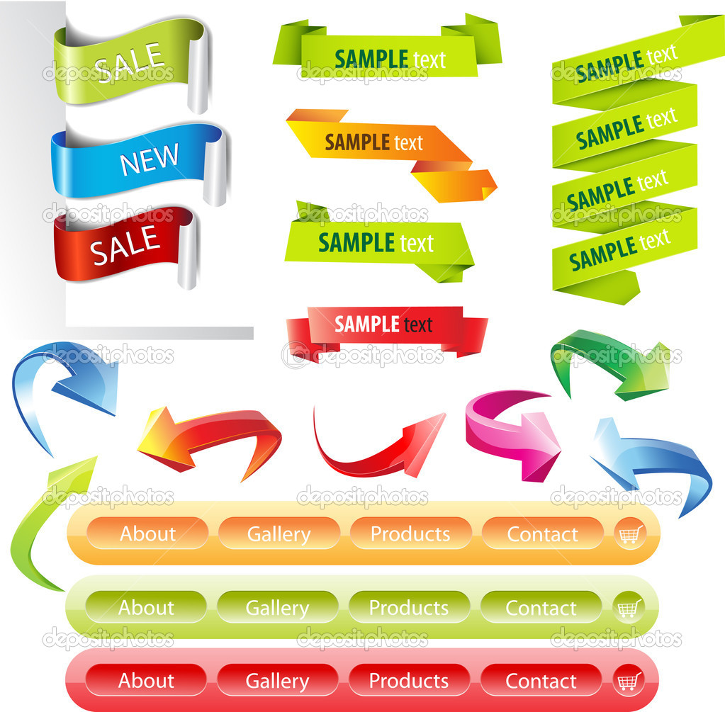 stickers and banners set — stock vector © colorvalley #7020346