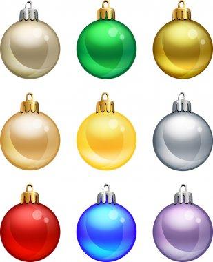 Isolated christmas balls set.