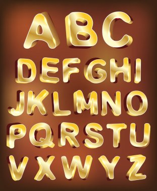 3d gold alphabet. vector for design
