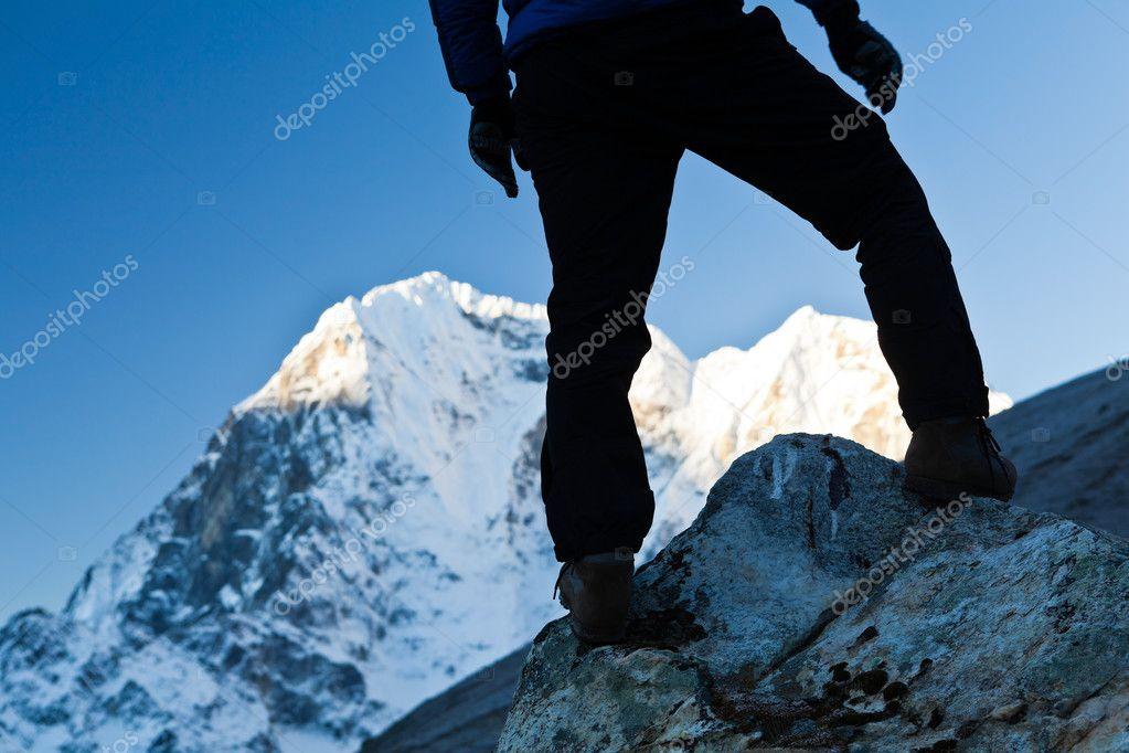 Man hiking in Himalaya Mountains