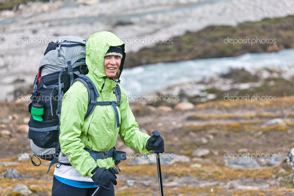 Woman hiking in mountains