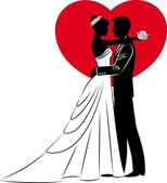 Fotografie Vector Illustration of beautiful bride and groom silhouette