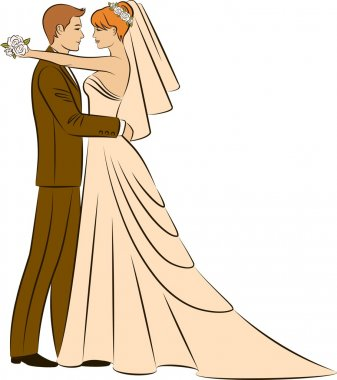 Vector Illustration of beautiful bride and groom