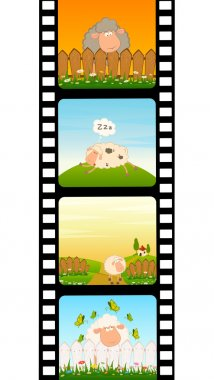 Vector blank film colorful strip with sheep