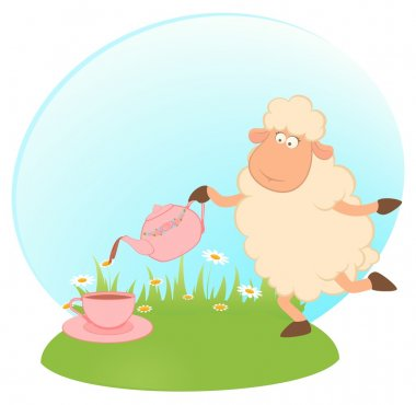Illustration of cartoon sheep pours tea from a tea-pot in a cup
