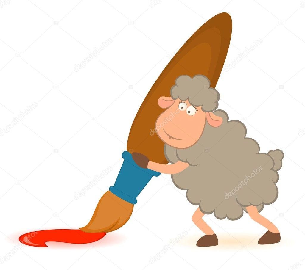 pincel dibujo. dibujos animados de ovejas con pincel sobre fondo blanco. vector \u2014 archivo imágenes vectoriales # dibujo