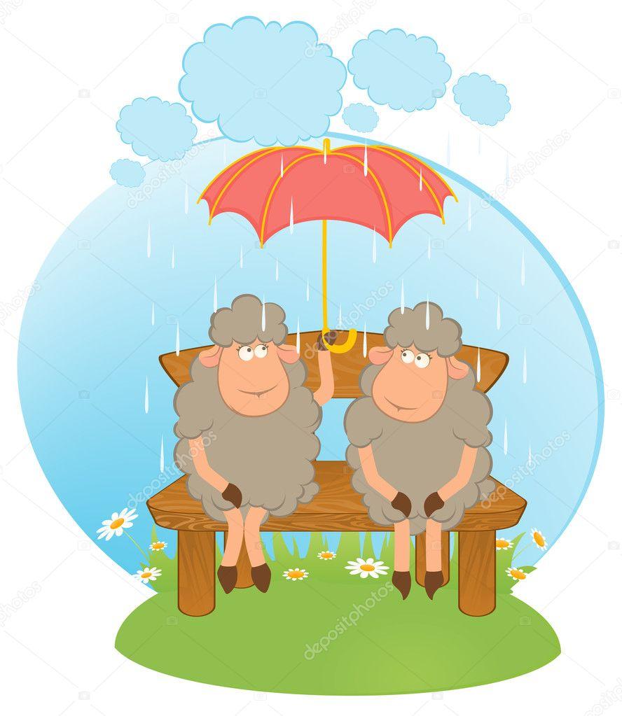 Cartone animato pecore con ombrello — vettoriali stock