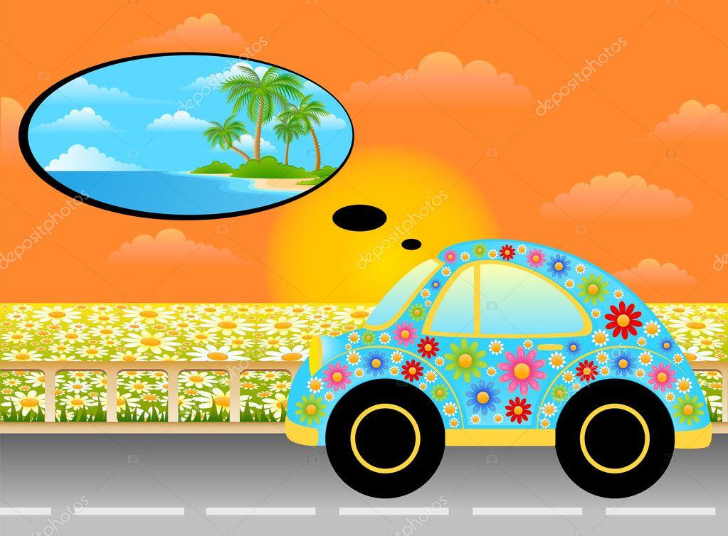 Vector cartoon car on a background summer landscape
