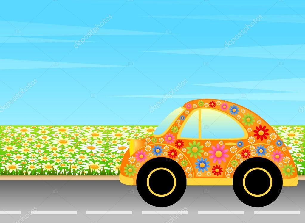 Auto di cartone animato vettoriale su un paesaggio