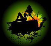 Fotografia silhouette della ragazza in foglie autunnali. Vector