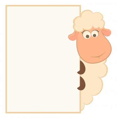 Vector illustration of cartoon sheep with frame