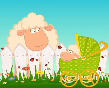 Vector Cartoon smiling sheep with scribble baby carriage