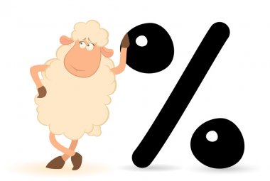 Vector cartoon sheep with the sign of percent