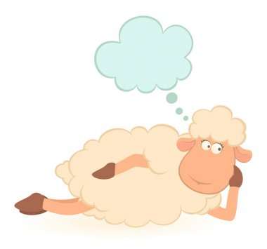 Vector illustration of cartoon sheep dreams