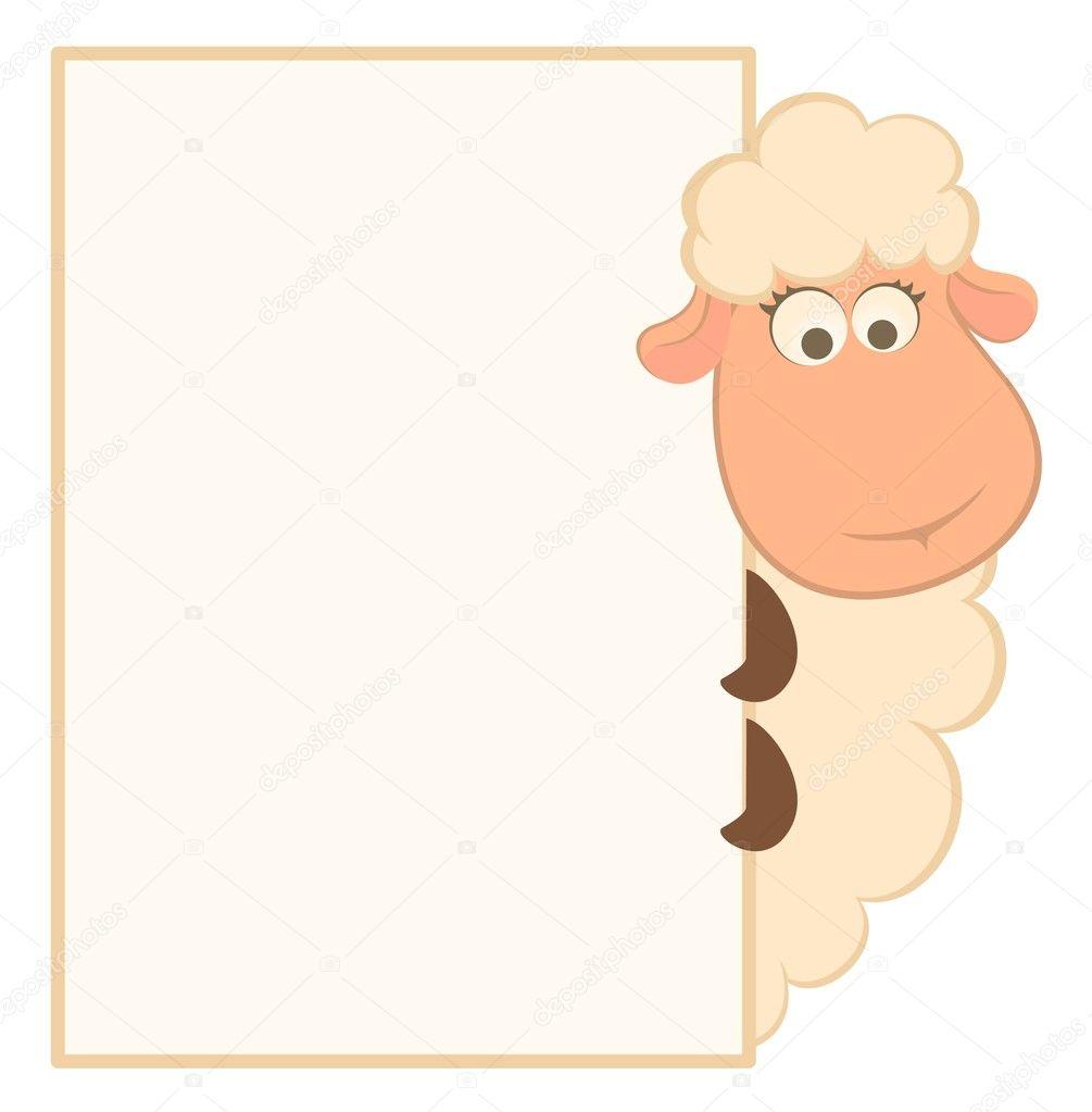 ilustración vectorial de ovejas de dibujos animados con el marco ...