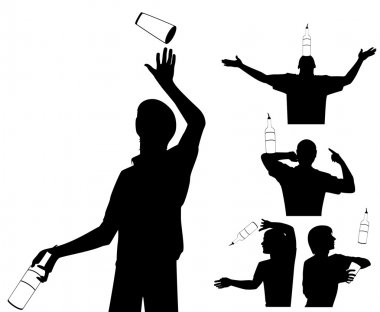 Silhouette of barman showing tricks with a bottle
