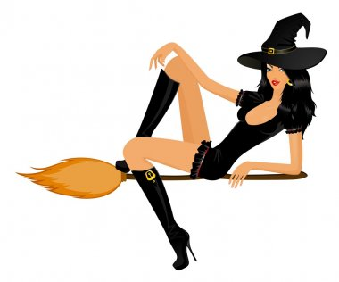 Beautiful sexy witch on a broom