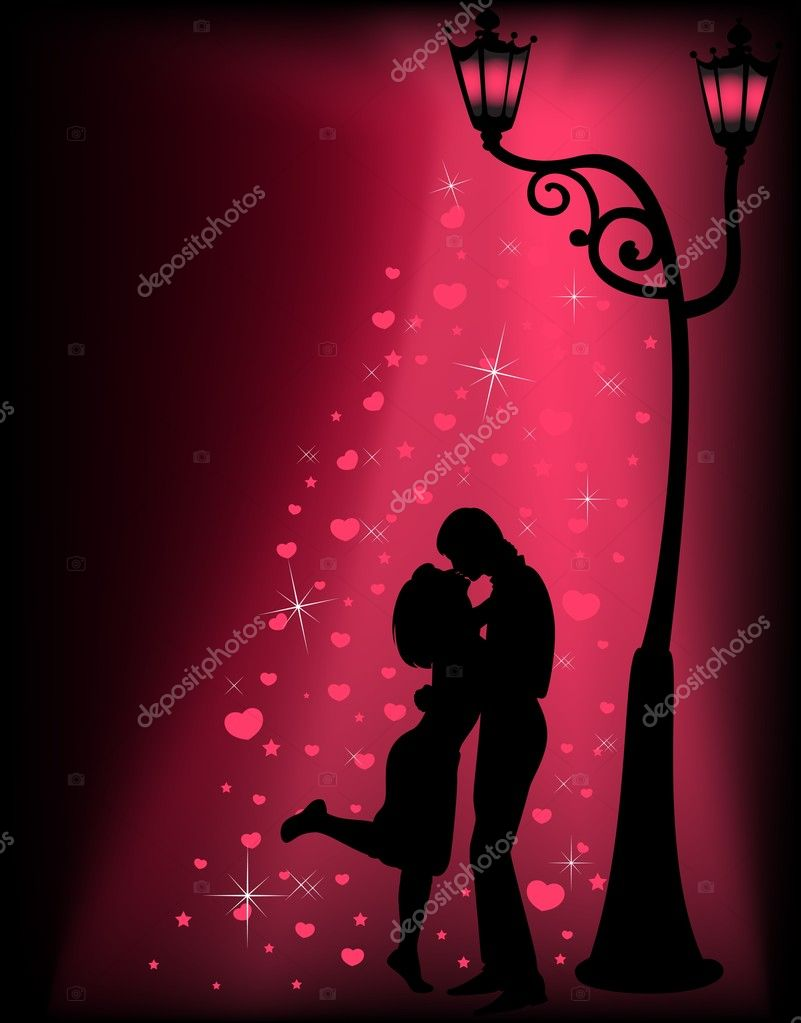 Silhouettes of two lovers under a lantern stock vector for 2 lovers pic