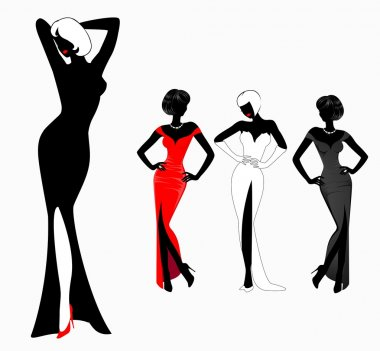 Set of beautiful silhouettes of girls on background for a design