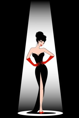 Beautiful pin-up girl in retro style. Vector illustration