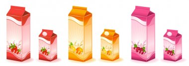 Design of packing milky products with fruit - vector illustration