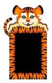 Zeichen 2010 jahre ist eine schöne kleine tiger auf hintergrund