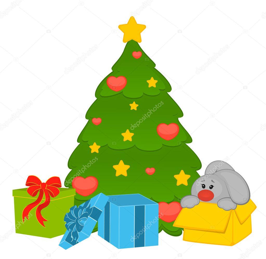 Dessin anim petit lapin jouet avec sapin et cadeaux image vectorielle forewer 7370551 - Sapin avec cadeaux ...