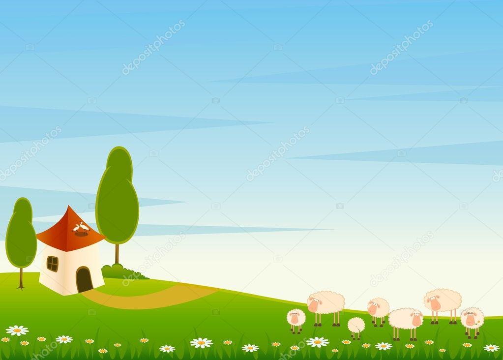 Fondo Animado Campo Parque Full Hd Animate Background: Vector Landscape Background With Cartoon Sheep
