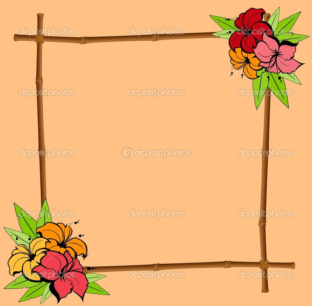 marco de verano de bambú con flores tropicales — Vector de stock ...