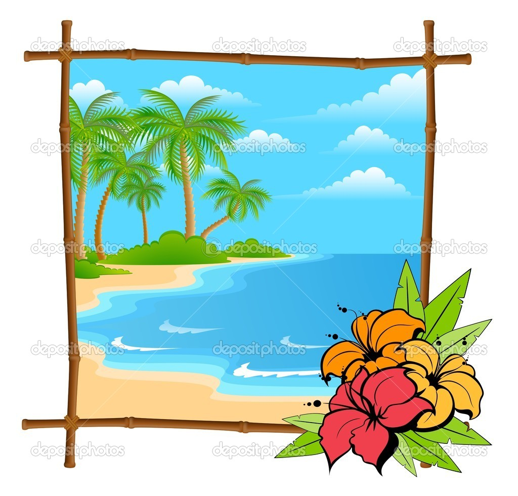 Cartoon palm tree vector in bamboo frame