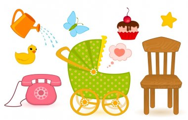 Set of child objects isolated on white background stock vector