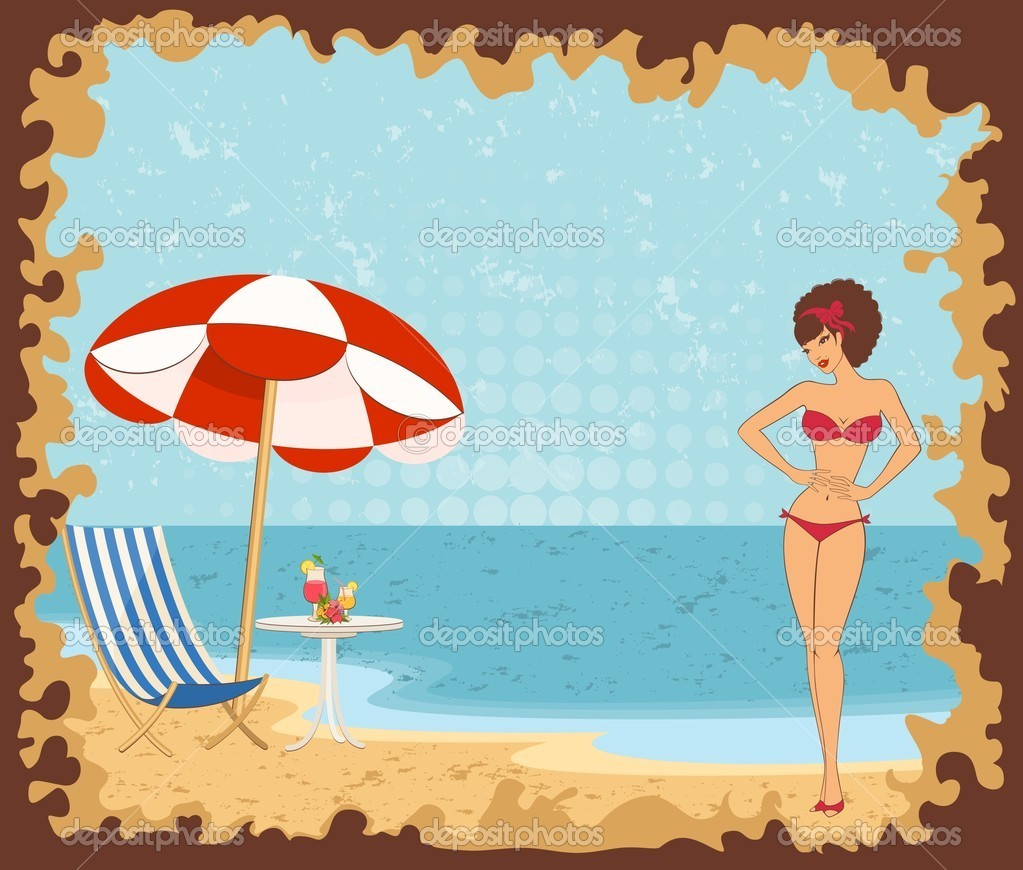 Beautiful girl on a summer beach.