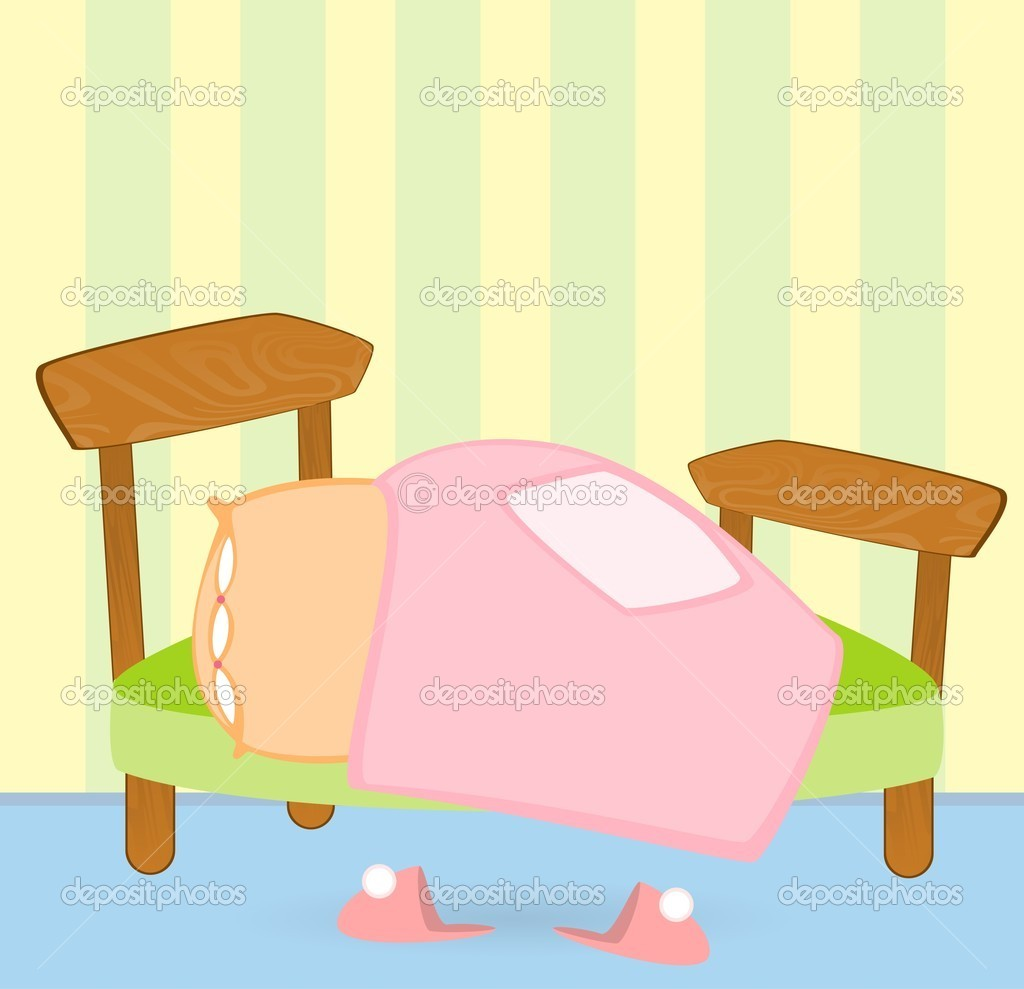 Cartoon bed with a blanket and pillow, pink slippers — Stock ... for Pillow And Blanket Clipart  174mzq