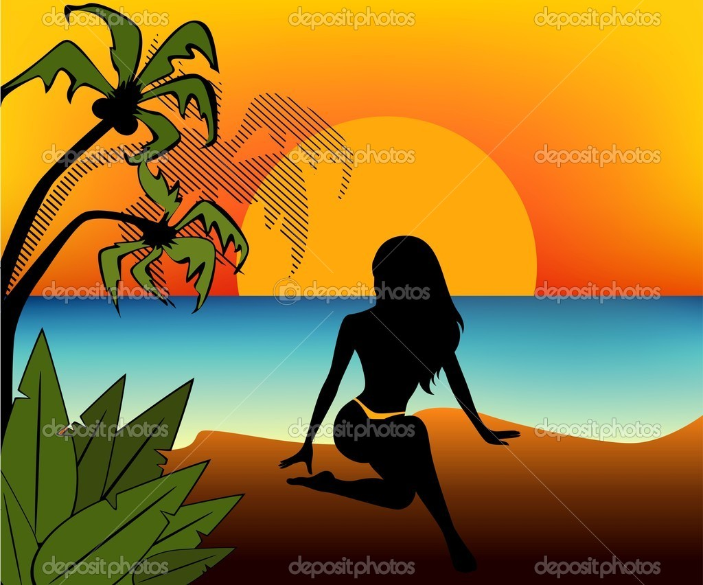 Black silhouette of girl on a background sunset on a summer beach