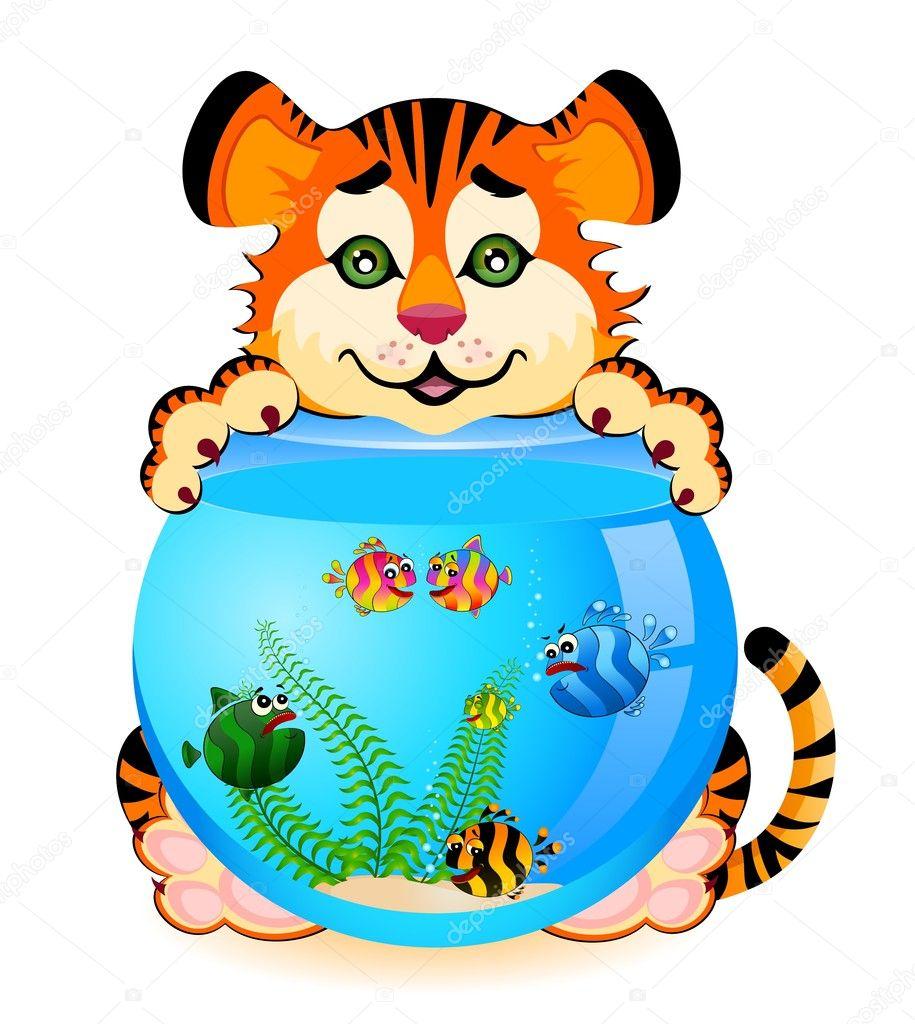 Tigre cartone animato piccolo con poco colorati pesci