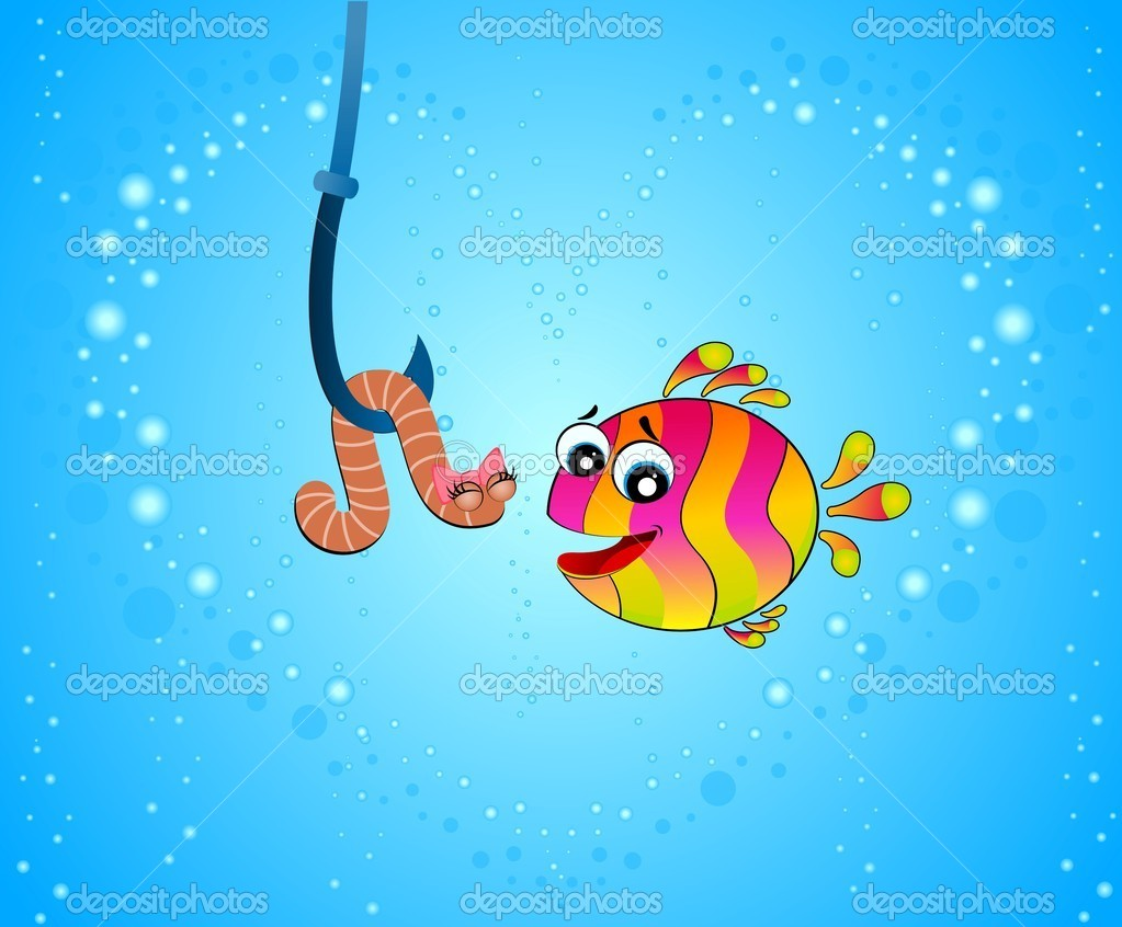 little cartoon funny fish love a worm u2014 stock vector forewer