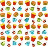 Cheeseburger mit der Packung Pommes, süße Cupcake