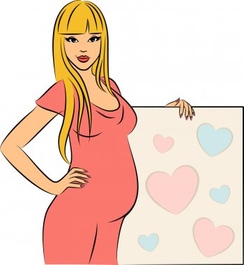 Beautiful pregnant girl with blank.