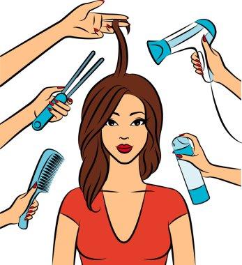 Hairdresser hands for beauty salon