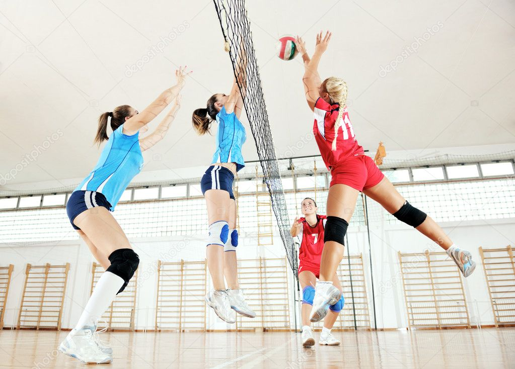 Active Young Women Volleyball Player Sport Stock Vector: Girls Playing Volleyball Indoor Game