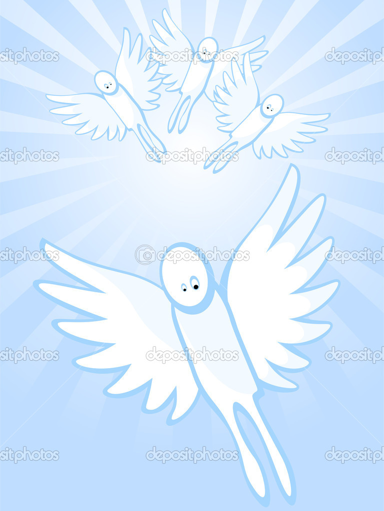 Angels In Heavens One Angel Flies Ahead Of Others Vector By Irazavod