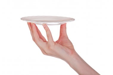 Hand with small plate on white