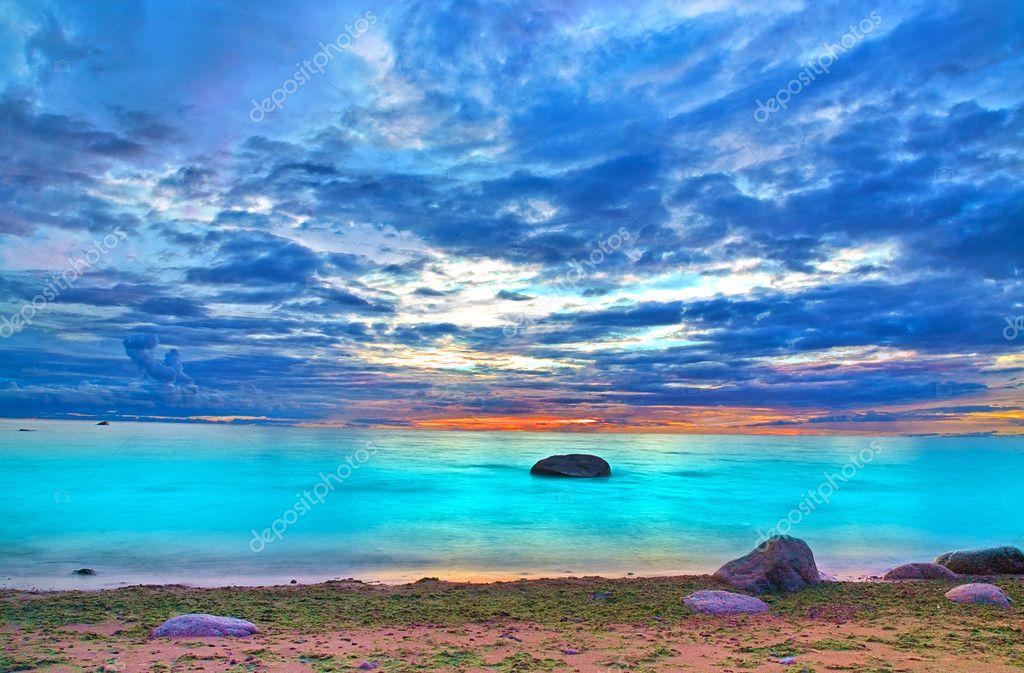 Azure ocean sunset